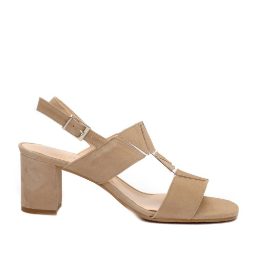 The Bag Beige Suede Geometrical Details Sandals