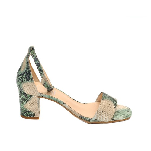The Bag Green Snake Print Leather Sandals