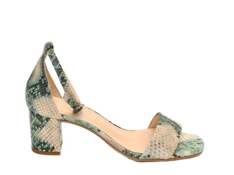 270cf0d9ae The Bag Green Snake Print Leather Sandals - Niutrack.com