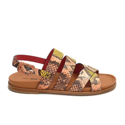 Uno8Uno Elba Snake Print Leather Sandals