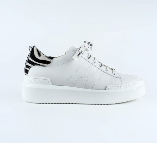 Uno8Uno Volta White Leather Sneakers Zebra Detail