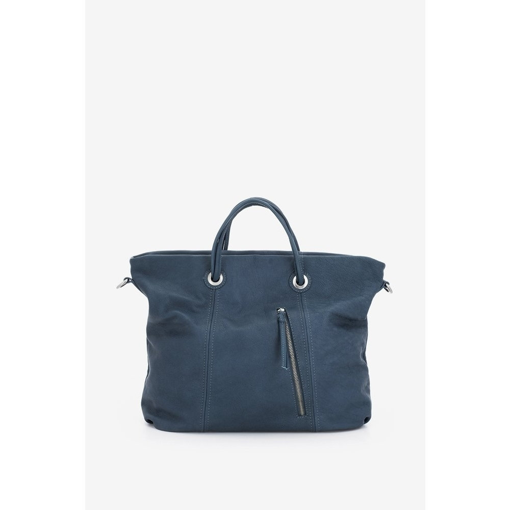 abbacino blue leather shopper bag