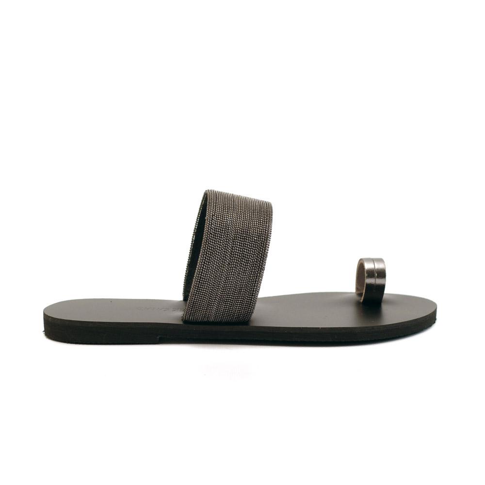 greek salad sandals kedros black leather slides
