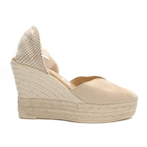manebi hamptons wedge espadrille beige