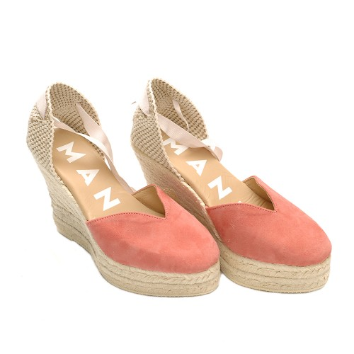 manebi hamptons wedge espadrille pastel rose
