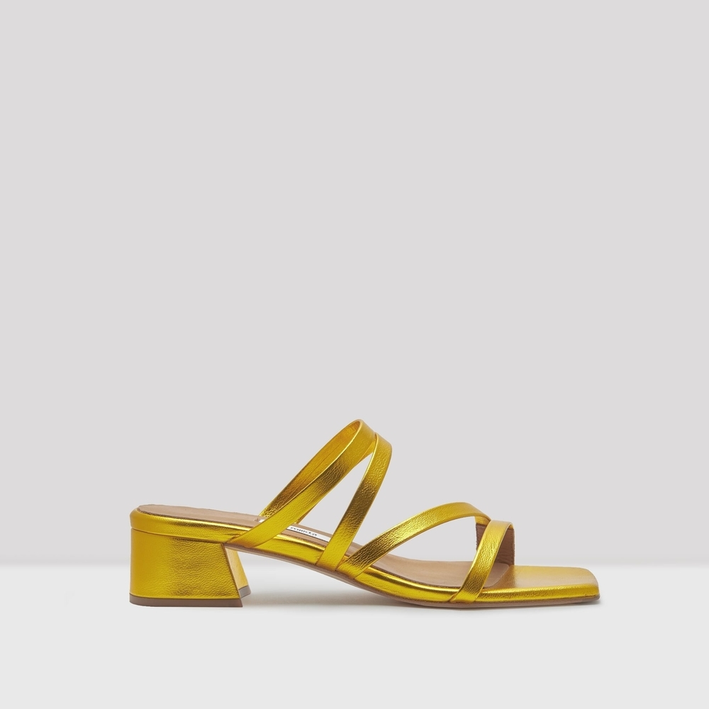 miista eva yellow gold metallic leather mules