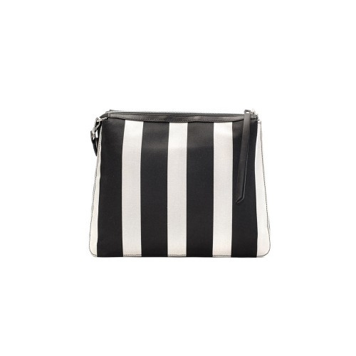 Kate-Koll Medium Black And White Stripes Shoulder Bag