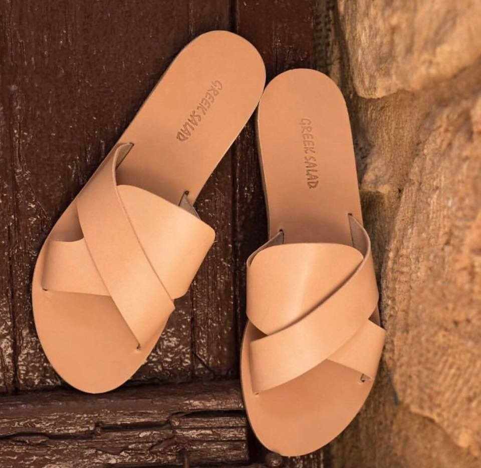 Greek Salad Sandals Med Beige Leather Slides