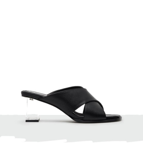 Miista Paloma Black Leather Mid Heels