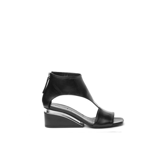 Vic Matie Black Sandals Ankle Strap Suspended Heel