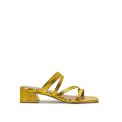 miista eva yellow gold metallic leather mules