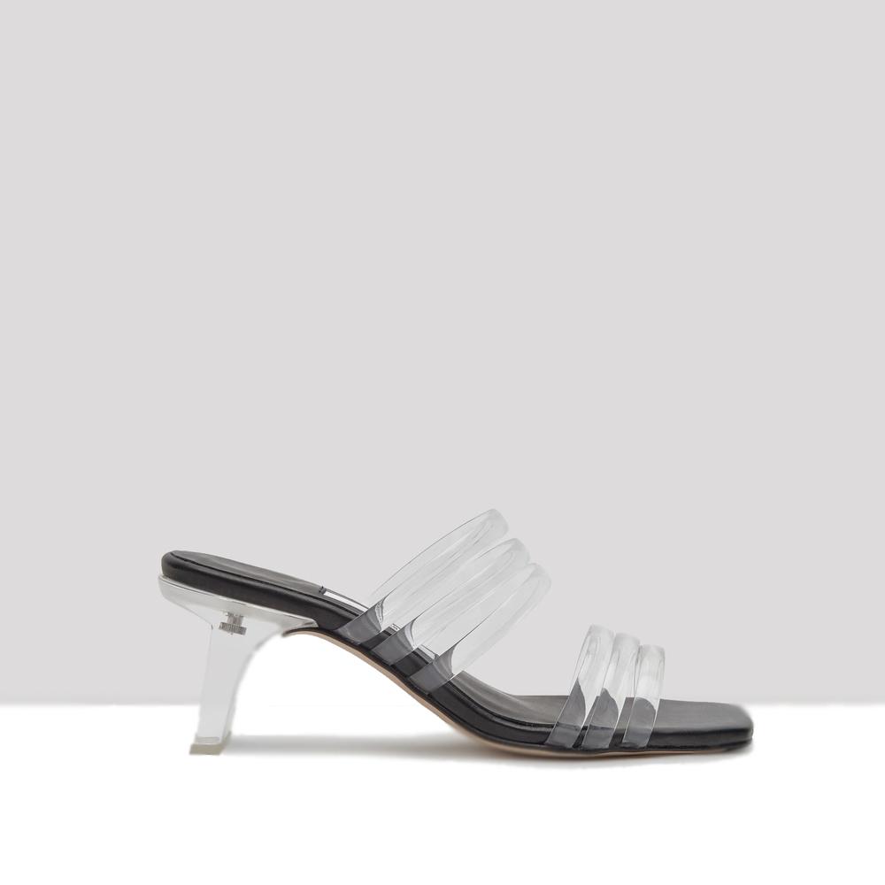 miista helena vinyl clear multi strap mules