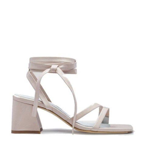 miista quima creme leather mid heel sandals