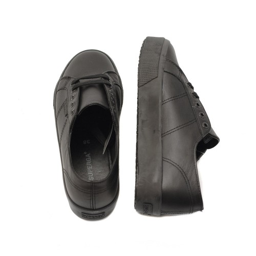 Superga-2730-Black-Leather-Flatforms