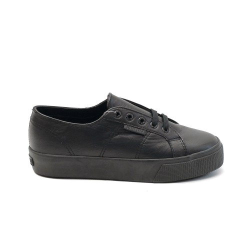 Superga 2730 Black Leather Flatforms
