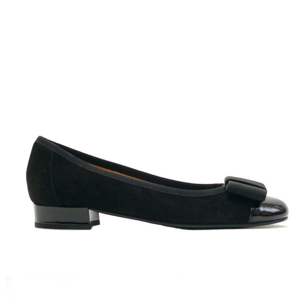 The Bag Black Suede Bow Ballerinas