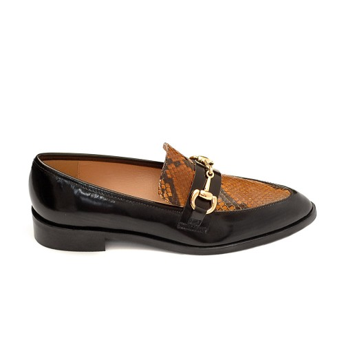 The Bag Jordan Horsebit Snake Detail Loafers
