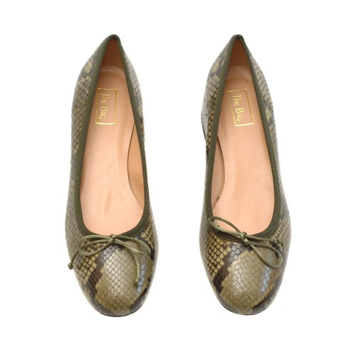 The-Bag-Olive-Green-Snake-Print-Ballerinas