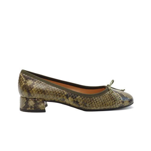 The Bag Olive Green Snake Print Ballerinas