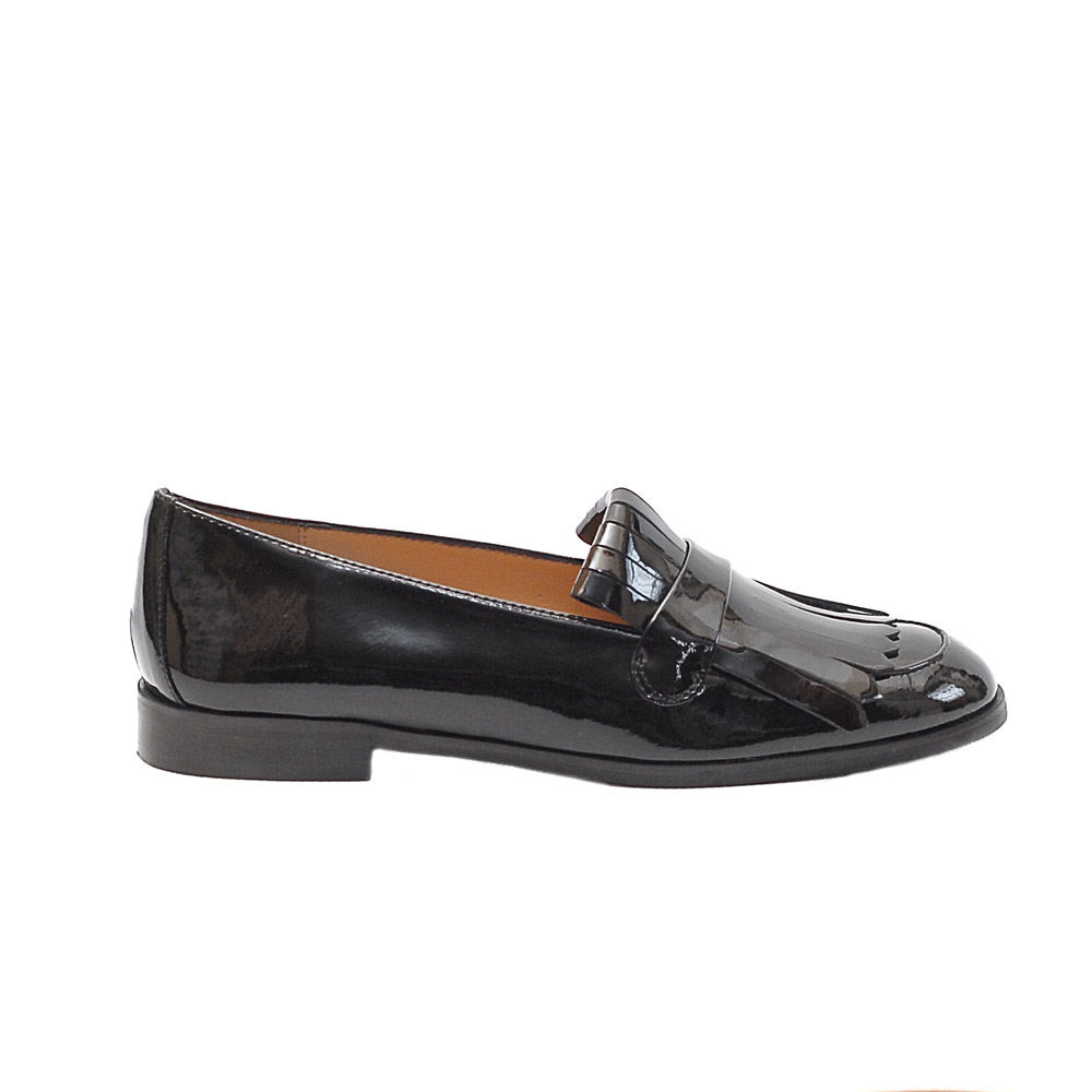 The Bag Patent Leather Fringed Loafers