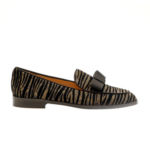The Bag Suede Green Zebra Effect Loafers