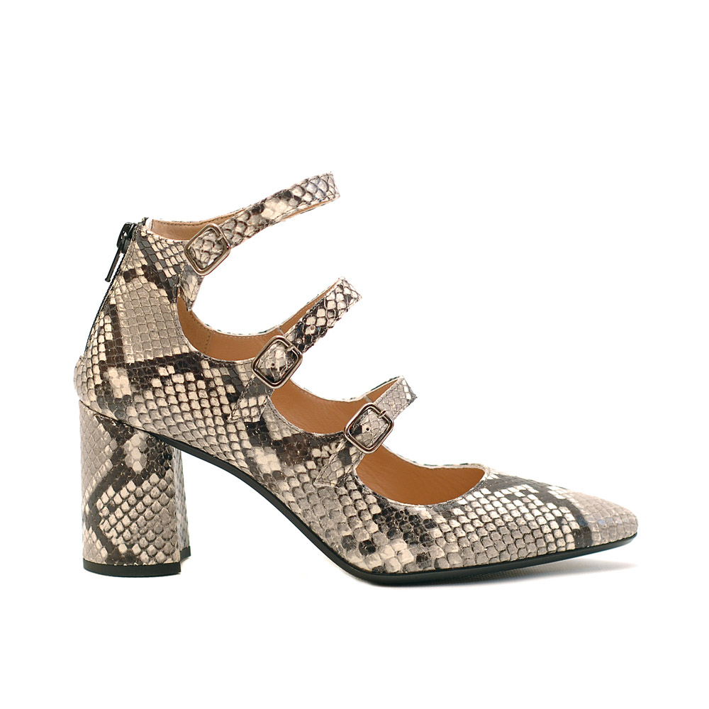 The Bag Three Straps Roccia Print Pumps