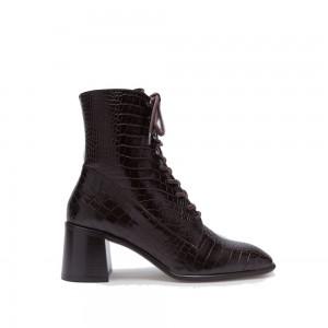 e8 by miista emma deep brown croc leather boots