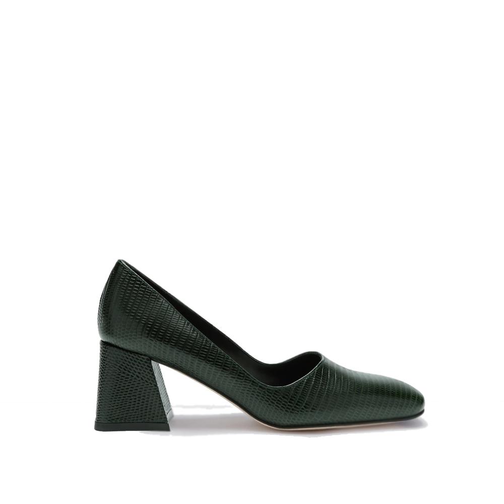 miista aloise bottle green mugger mid heels