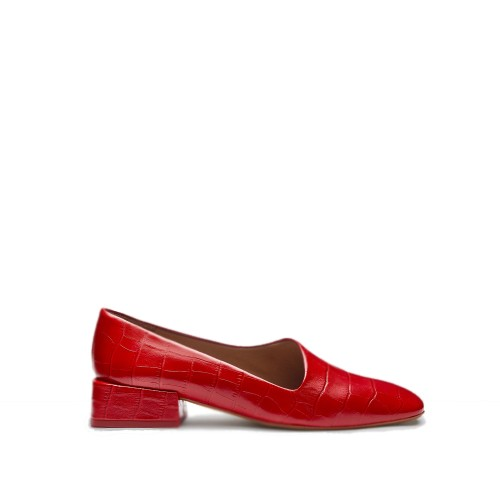 miista coraline red croc leather flats