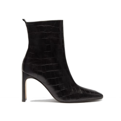 miista marcelle black croc leather boots