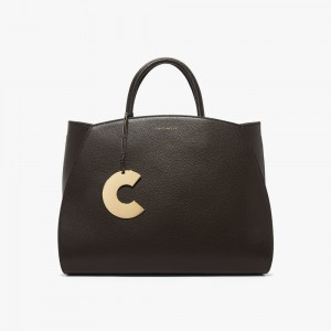 Coccinelle Concrete Maxi Natural Grain Leather Handbag