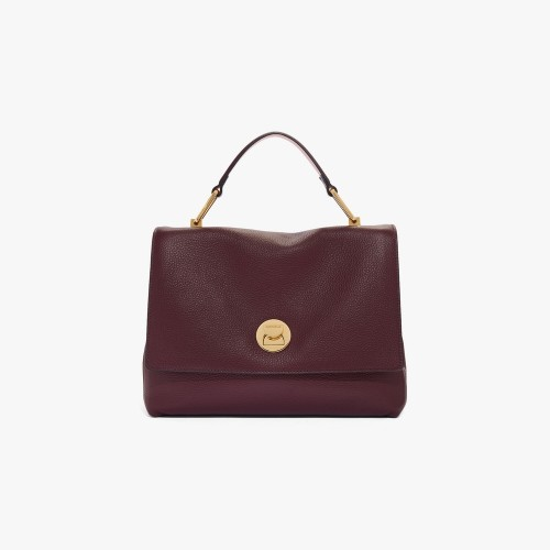 Coccinelle Liya Medium Burgundy Natural Grain Leather Handbag
