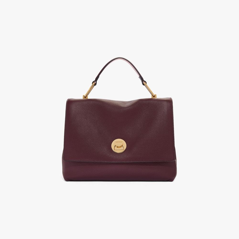 Coccinelle Liya Medium Burgundy Natural Grain Leather Handbag