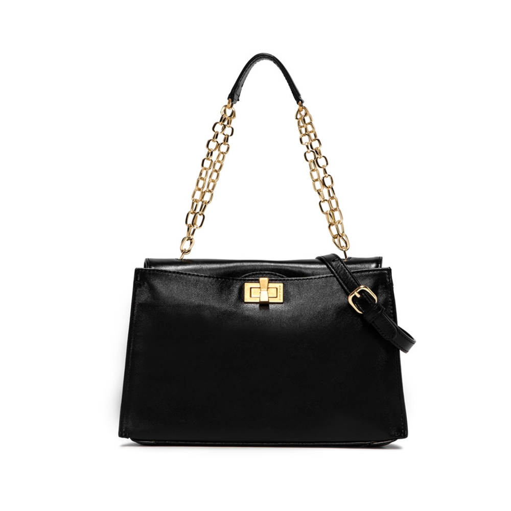Gianni Chiarini Emma Medium Black Leather Shoulder Bag