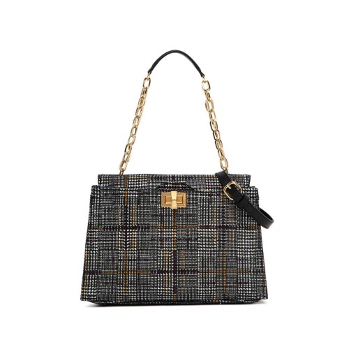 Gianni Chiarini Emma Medium Leather Checked Handbag