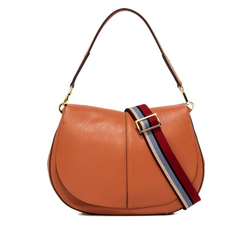 Gianni Chiarini Helena Round Large Orange Leather Crossbody Bag