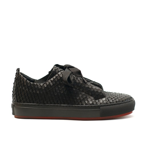 Lilimill 6573 Black Woven Snake Effect Leather Sneakers