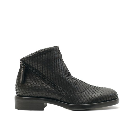 Lilimill 6701 Black Woven Snake Effect Ankle Boots