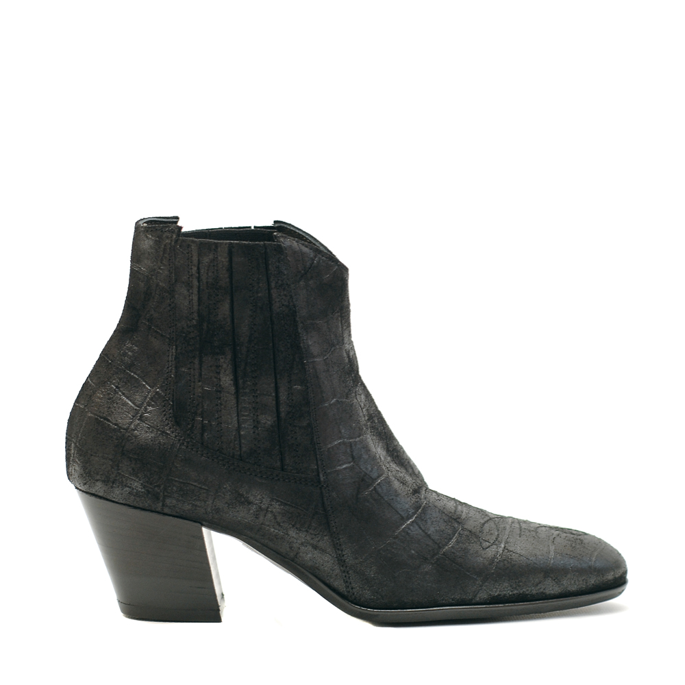 Lilimill 6723 Black Croc Effect Suede Ankle Boots