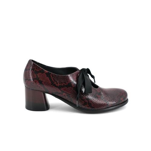 Lilimill 6716 Magenta Snake Print Brogue Shoes