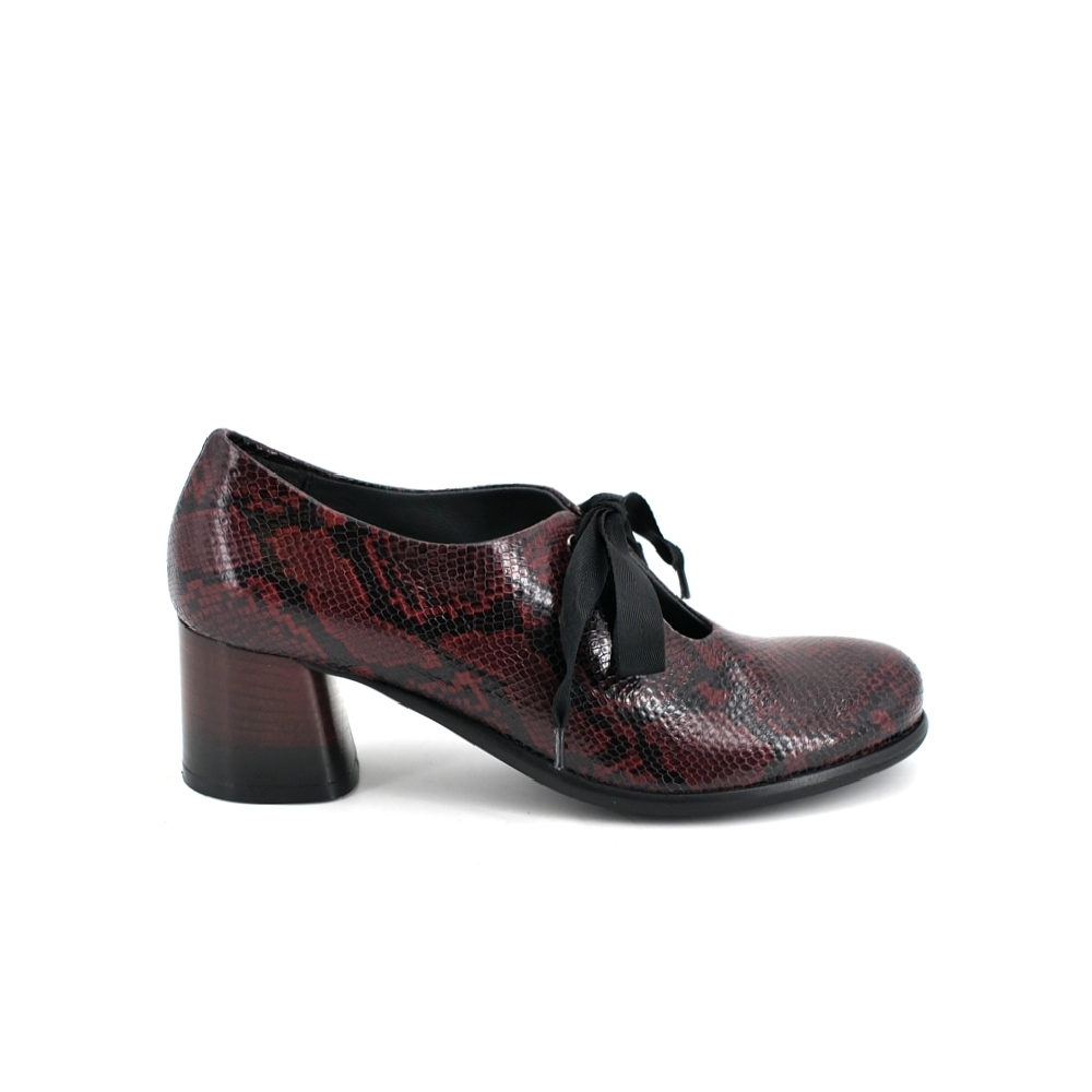 Lilimill 6916 Magenta Snake Print Brogue Shoes