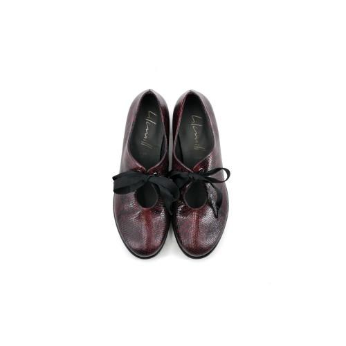 Lilimill-6916-Magenta-Snake-Print-Brogue-Shoes