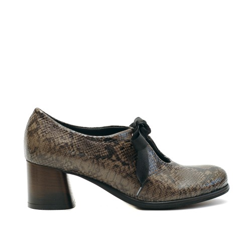 Lilimill 6716 Snake Print Brown Leather Brogue Pumps
