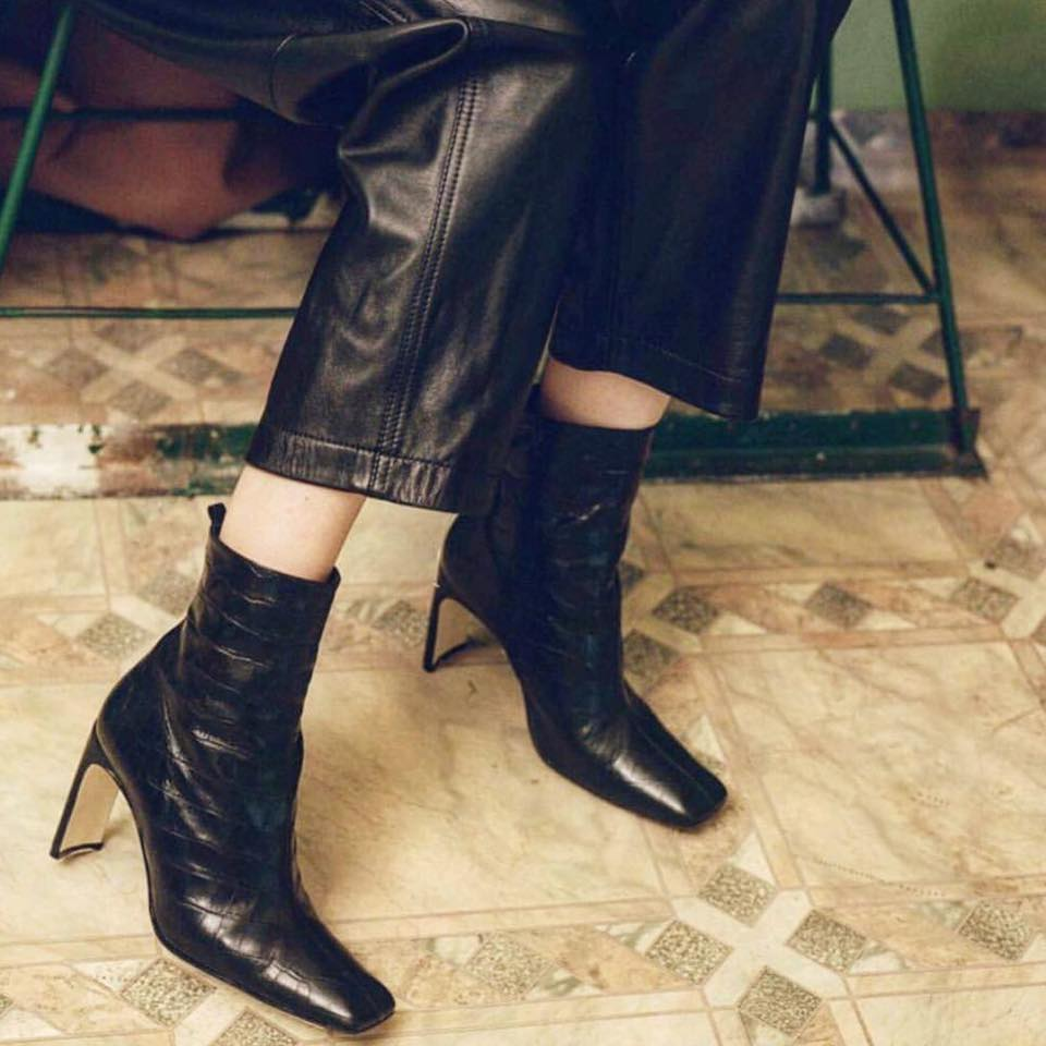 Miista Marcelle Black Croc Leather Boots