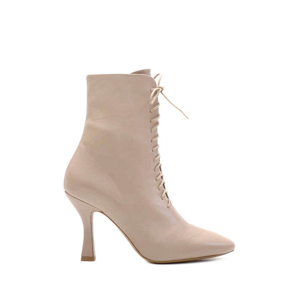 Vic Matie Betty Beige Leather Lace Up Ankle Boots