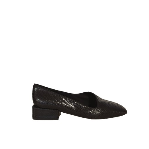 Miista coraline black leather lizard effect flats