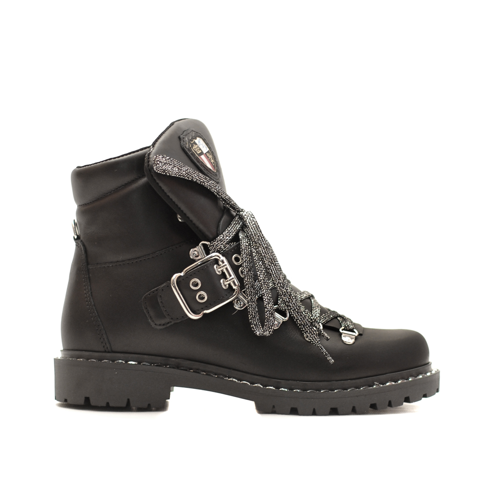 New Italia Black Laceup Ankle Boots