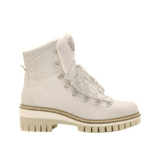 New Italia White Laceup Ankle Boots