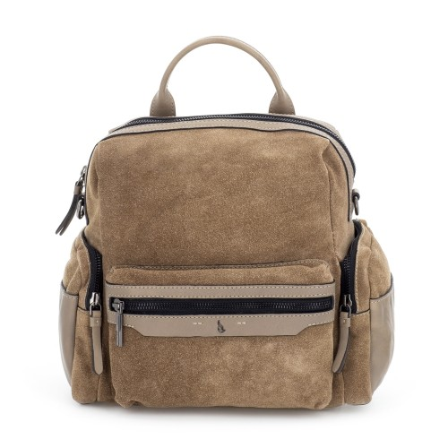 Abbacino soft suede camel backpack