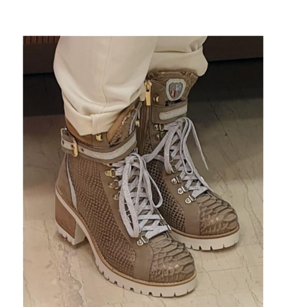 New Italia Beige Block Heel Boots